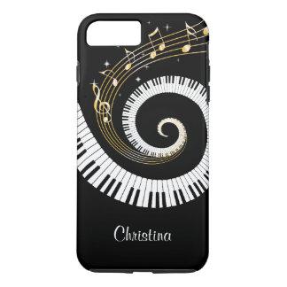 Coque iPhone 8 Plus/7 Plus Clés de piano et notes personnalisables de musique