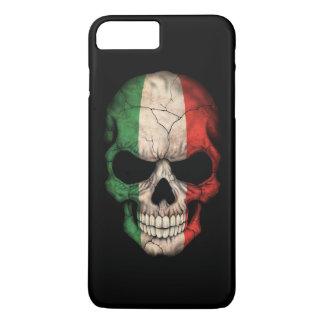 Coque iPhone 8 Plus/7 Plus Crâne italien de drapeau sur le noir