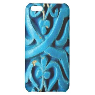 Coque iphone en céramique bleu vintage de point d'