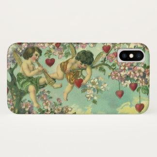 Coque iPhone X Arbre victorien vintage de coeur de cupidons de