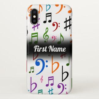 Coque iPhone X Beaucoup de notes et de symboles colorés de