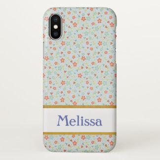 Coque iPhone X Caisse vintage florale bleue de l'iPhone X de
