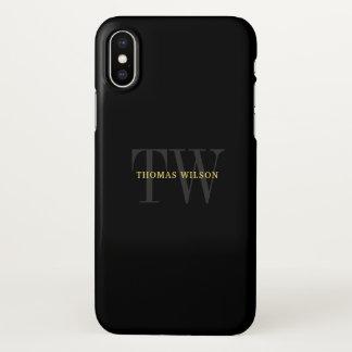 Coque iPhone X Noir minimaliste moderne et gris du monogramme des