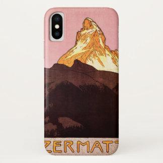 Coque iPhone X Voyage vintage, montagne de Matterhorn, Suisse
