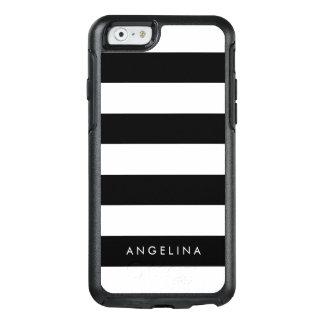 Coque OtterBox iPhone 6/6s Nom noir et blanc moderne de coutume de motif rayé