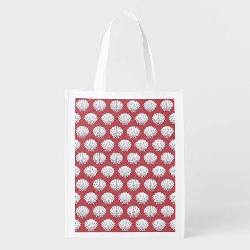 Coquillages ! Épicerie rose et turquoise, cadeau,  Sac Réutilisable D'épcierie