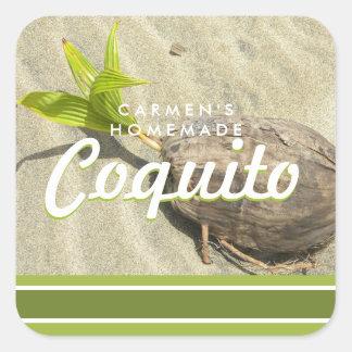 Coquito-Kokosnuss Quadratischer Aufkleber