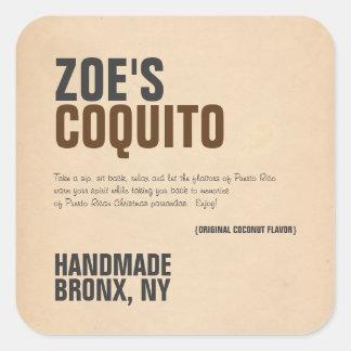 Coquito-rustikales modernes quadratischer aufkleber