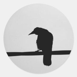 corbeau noir autocollant rond