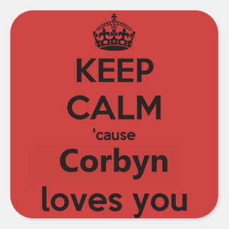 Corbyn Lieben Sie Quadratischer Aufkleber