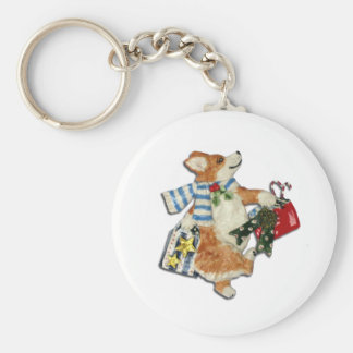 Corgi-Feiertags-Käufer Schlüsselanhänger
