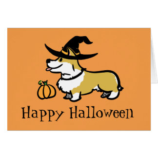 Corgi-Halloween-Hexe Karte