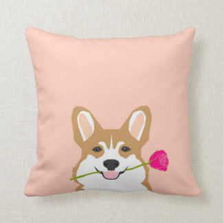 Corgi-Liebe mit rosa Rose für Kissen