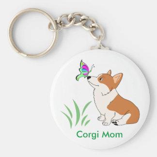 Corgi-Mamma mit Schmetterling Schlüsselanhänger