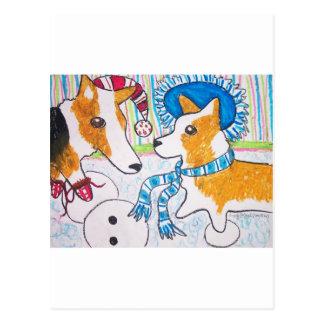Corgis-Schnee-Spaß Postkarte