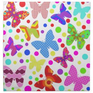 Corourful niedliche Schmetterlinge und Polkapunkte Serviette