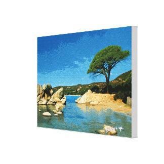 Corsica, Strand von Palombaggia Gespannte Galerie Drucke
