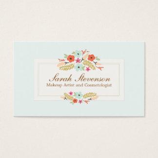 Cosmetology-wunderliche Blumen-hellblauer Visitenkarten
