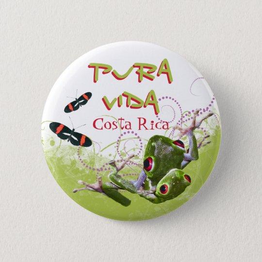 Costa Rican Pura Vida Baum-Frosch-Knopf Runder Button 5,7 Cm