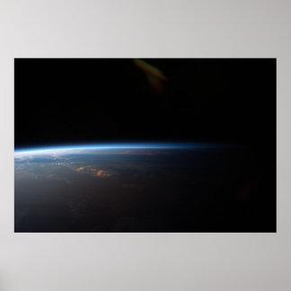 Coucher du soleil au-dessus de l'Amérique du Sud Poster