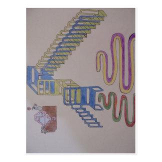 Couches mit Treppenhäusern und wriggling Matten Postkarte