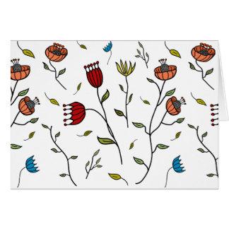 Couleur colorée de coutume de motif de fleurs carte de correspondance