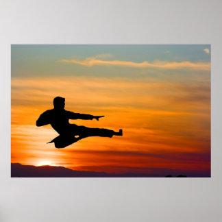 Coup-de-pied de karaté au lever de soleil, affiche