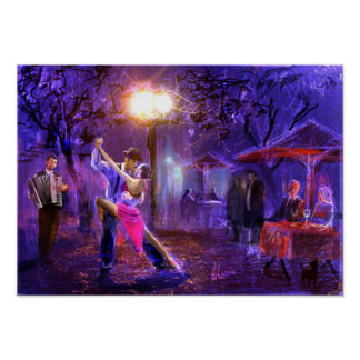Couple dancing zu Tango in the night Poster