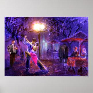 Couple dancing zu Tango in the night Poster