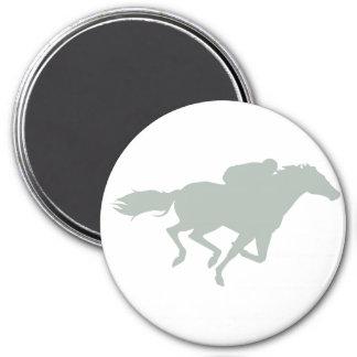 Course de chevaux de gris de cendre magnet rond 7,50 cm