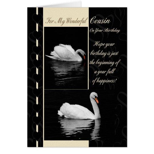 Cousin-Geburtstags-Karten-Schwäne Karte