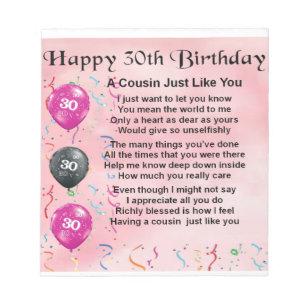 Geburtstag 30 Notizblocke Zazzle Ch