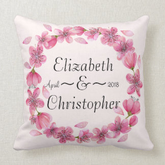 Coussin Carreau rose de mariage de guirlande de fleur de