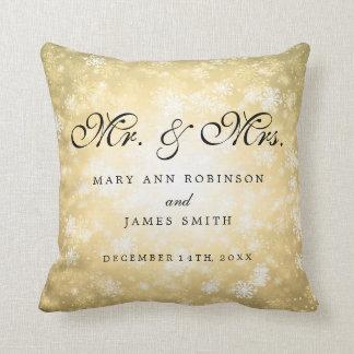Coussin M. et Mme élégants Favor Gold de mariage d'hiver