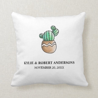 Coussin Mariage minimal rustique de cactus succulent
