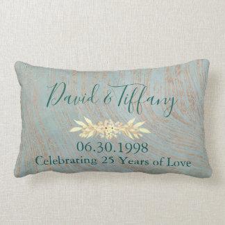 Coussin Rectangle 25ème anniversaire de mariage bleu et de cuivre