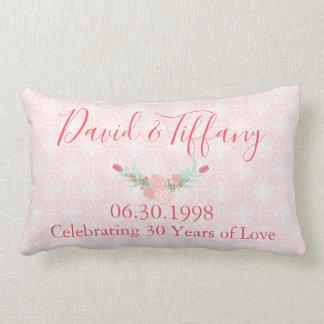 Coussin Rectangle Rose d'anniversaire de mariage de 30 ans floral