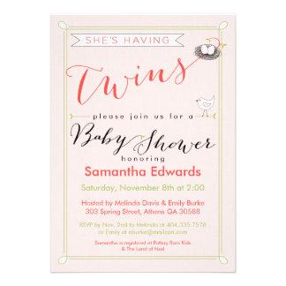 Coutume elle a l invitation de baby shower de jume