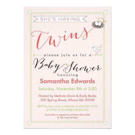 Coutume elle a l'invitation de baby shower de jume