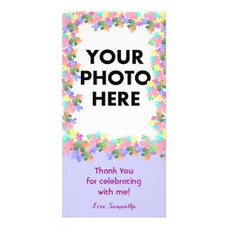 Coutume en pastel de collage de fleur photocarte personnalisée