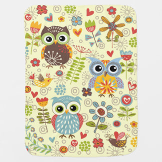 Couverture heureuse de bébé de hiboux et de fleurs couvertures de bébé