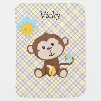 Couverture personnalisée de bébé de singe couvertures de bébé
