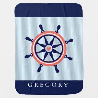 Couvertures Pour Bébé Rayures nautiques de roue et de bleus layette de