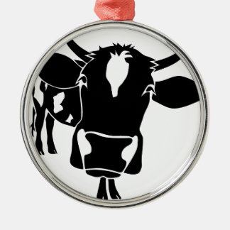 cow cattle kuh fleckvieh milk cowboy farmer silbernes ornament