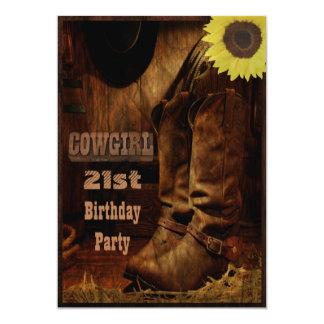 Cow-girl tout pays rustique d'anniversaire d'âge carton d'invitation  12,7 cm x 17,78 cm