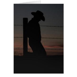 Cowboy am Sonnenuntergang Karte