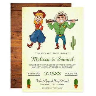 Cowboy-Cowgirl-Cartoon-Paar-Hochzeits-Einladung Karte