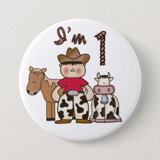 Cowboy-erster Geburtstag Runder Button 7,6 Cm