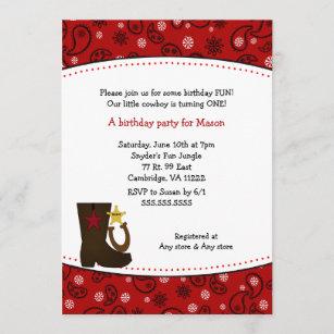 Cowboy-Geburtstags-Party-rotes Einladung
