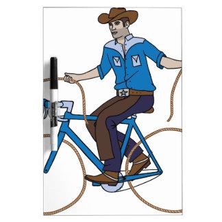 Cowboy-Reitfahrrad mit Lasso-Rädern Trockenlöschtafel